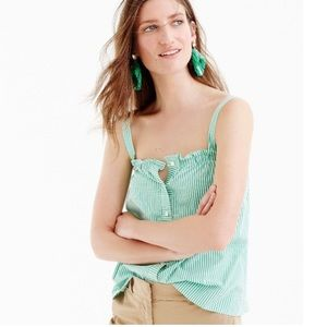 J. Crew Button Front Ruffle Green and White Top 2